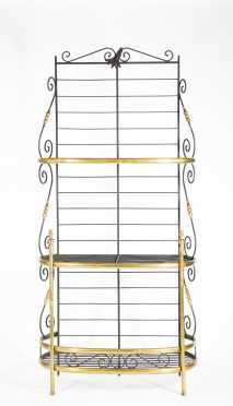 Modern Brass and Iron Bakers Rack
