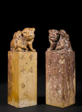 Pair of Chinese Carved Soapstone Chops