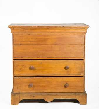 NE Pine 18thC Blanket Chest With Two Drawers