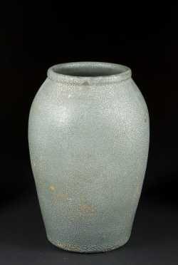 Japanese Same' (Shark Skin) Green/Gray glaze Vase