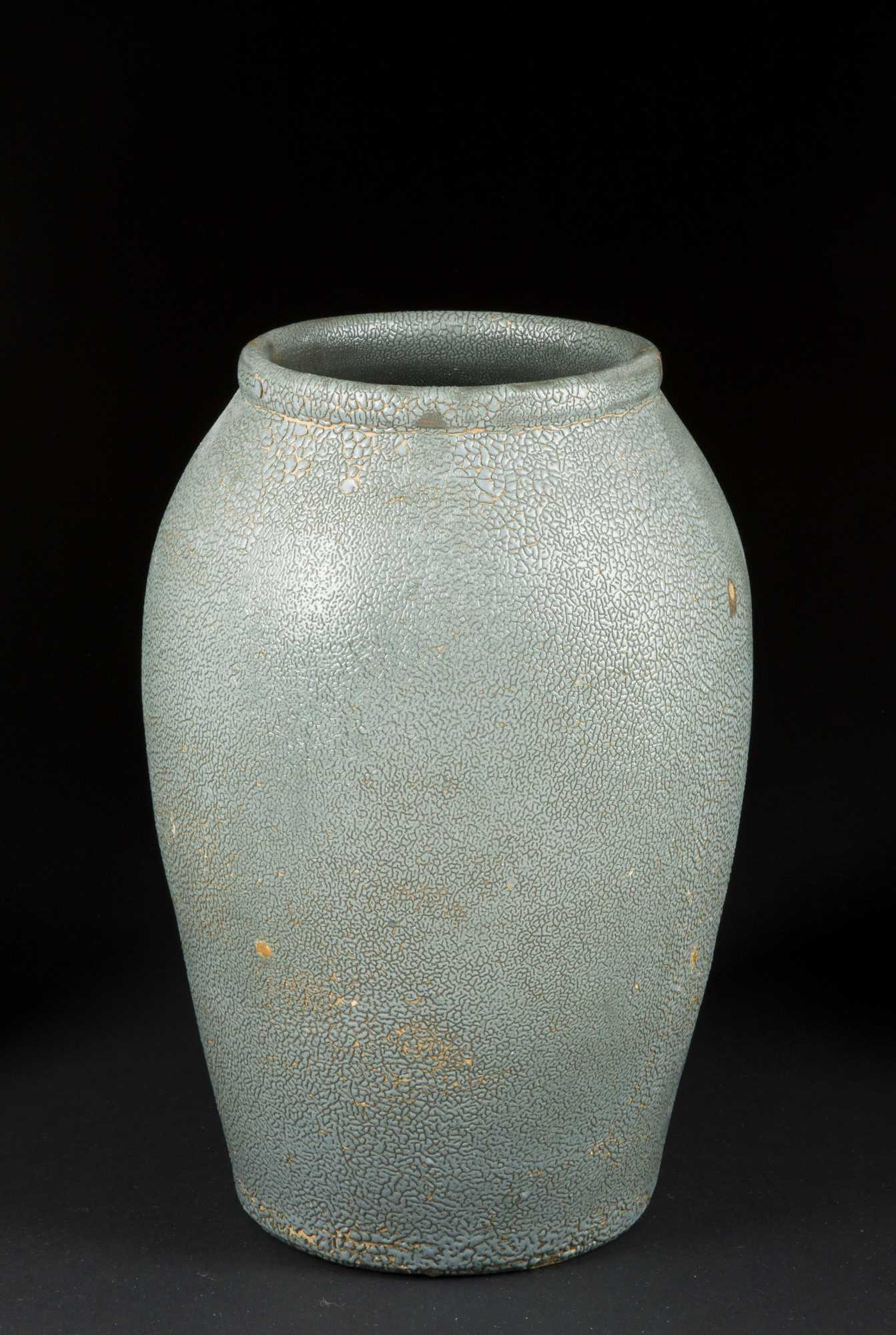 Japanese Same Shark Skin Green Gray Glaze Vase