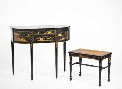 Reproduction Chinoiserie Decorated Dressing Table and Stool