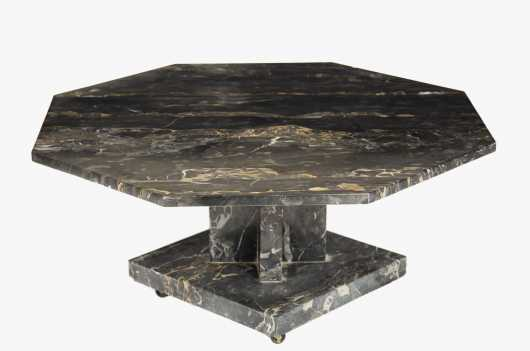 Deco Octagonal Variegated Marble top Coffee Table