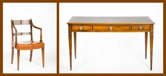 Custom Bureau Plat Desk and Armchair