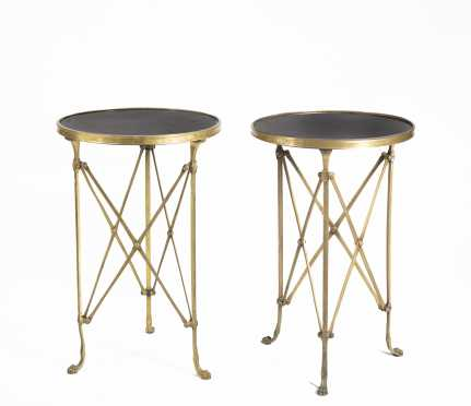 Pair of Brass And Round Marble Top Tables
