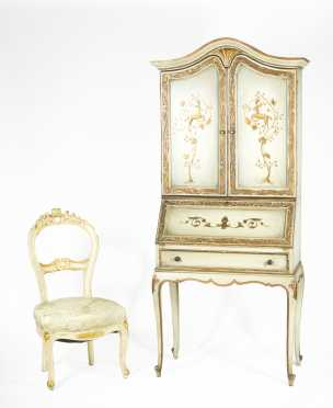 20thC Paint Decorated Secretary and Chair