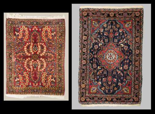 Two Sarouk Scatter Size Oriental Rugs