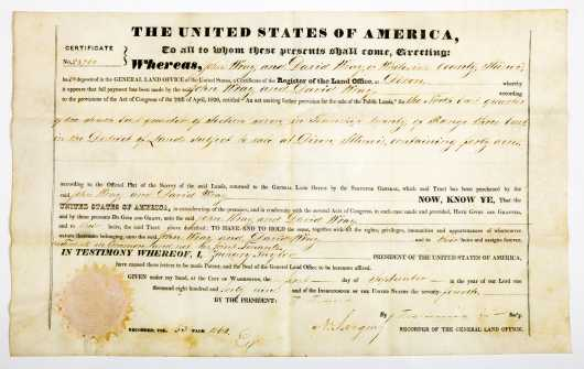 Zachary Taylor Land Grant, secretarial signed