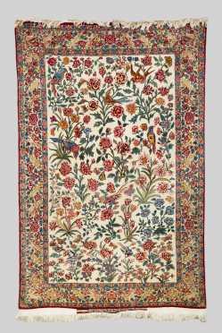 Silk and Wool Tabriz Scatter Oriental Rug
