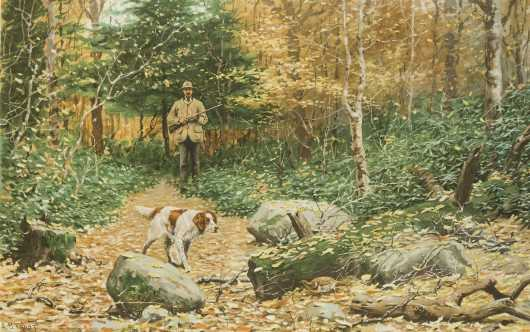 A B Frost Hunting Lithograph