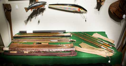 Nine Miscellaneous Bamboo Fly and Spinning Rods