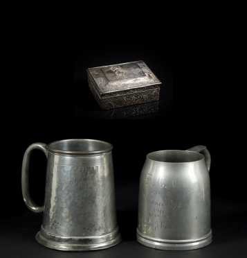 Two Golf related Beer Tankards and Cigarette Case