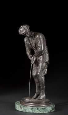 Bronze Casting of a Golfer Putting