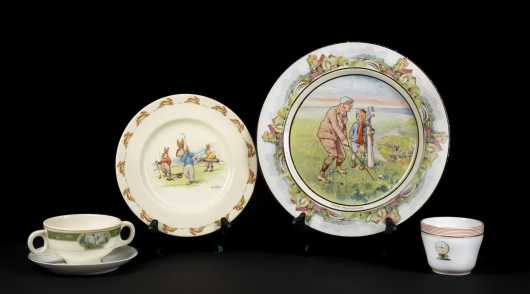 Lot of Four Pieces of Golfing Decorated China
