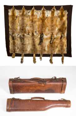 Two Sewn Leather Gun Cases and Fox Skin Hunting Blanket