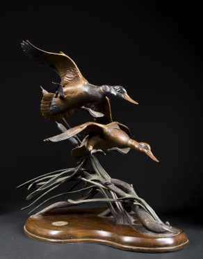 """""""Ducks Unlimited"""" Bronze casting Titled """"Gale Winds"""""""