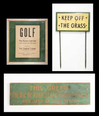 Three Golf Course Signs
