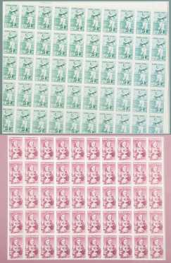 Two Blocks of 50 Golf Stamps