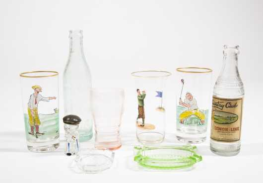 Lot of Nine Assorted Golf Related Glass Pieces