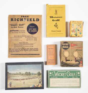 Seven Vintage Assorted Golf Collectables