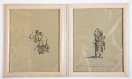 Two Pen and Ink Drawings Signed V S Addison