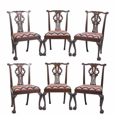 Set of Six English Chippendale Carved Mahogany Side Chairs