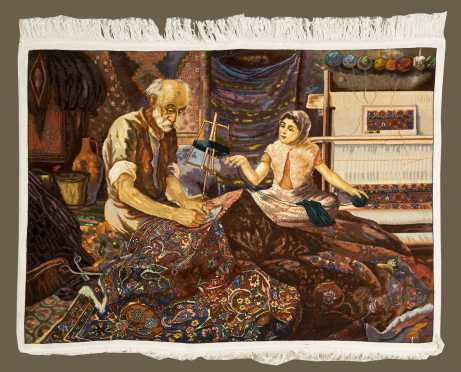 Cotton and Wool Pictorial Oriental Rug.