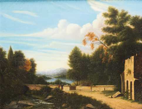 Unknown 19thC American Artist in the Manner of Thomas Cole, New York (1801- 1848) AVAILABLE NOW FOR $950.00