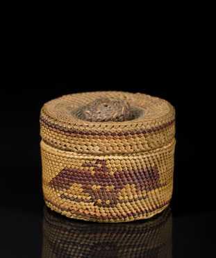 Tlinglit Twine Woven Miniature Covered Basket