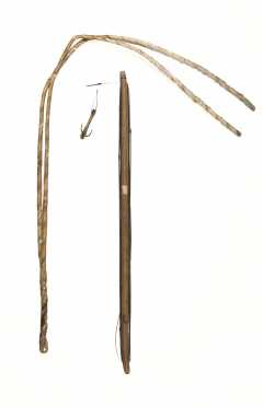Inuit Woven Gut Drag Line and Fishing Jig Stick