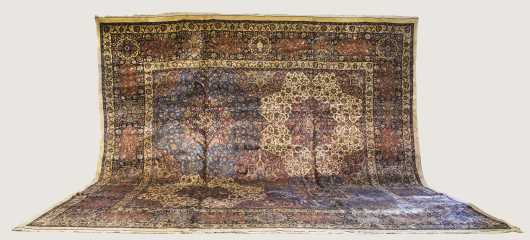 Cotton and wool Mashad Room Size Oriental Rug