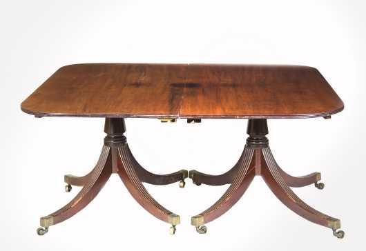 English Regency Mahogany Two Pedestal Dining Table