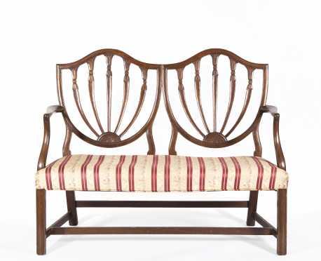 Hepplewhite Style Mahogany Double Chairback Settee