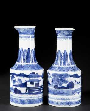 Pair of Chinese Export Canton Wine/Cruet Bottles