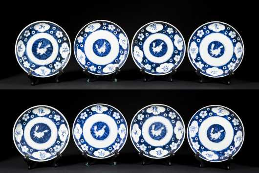 Lot of 8 Chinese Blue/White Rabbit Dishes