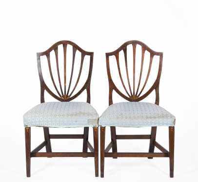 Pair of NE Hepplewhite Shield Back Side Chairs