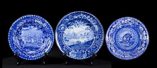 Three Historical Blue American Scene Plates
