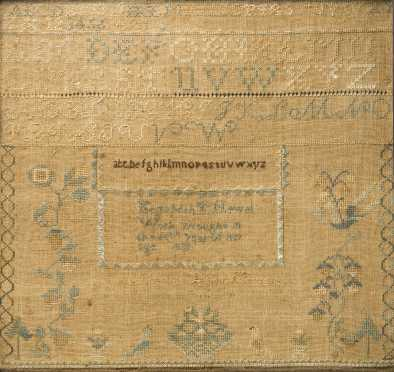 American Sampler Done by Elizabeth T Newel, 1828