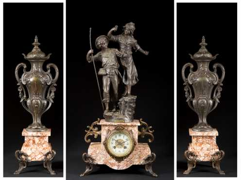 French Marble and Cast Metal Three Piece Clock Set