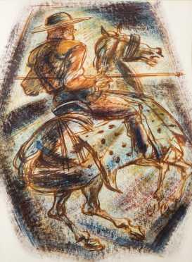 "Norman Millet Thomas attributed, ""Don Quijote de la Mancha"" Style Watercolor Painting"