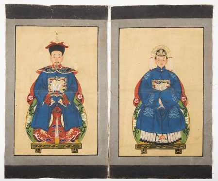 Pair of Chinese Ancestral Paintings