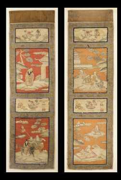Pair of Chinese Needlework Panels