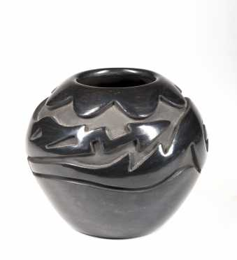 Native American Carved Blackware Olla