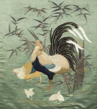 Japanese Rooster and Family Needlework Picture