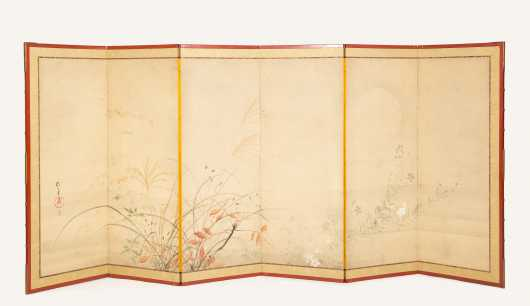 Japanese Six Panel Screen Signed Sakai Hoitsu (1761-1828)