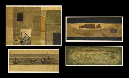 Fukui Ryonusuki Four Signed Still-life Prints