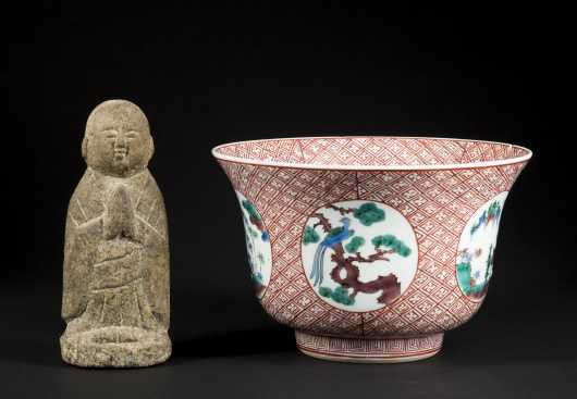 Chinese Famille Vert Damaged Bowl and an Early Stone Deity