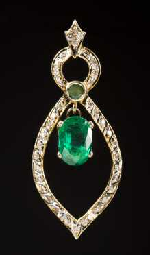 14kt. Pendant with Natural Emerald and Diamonds