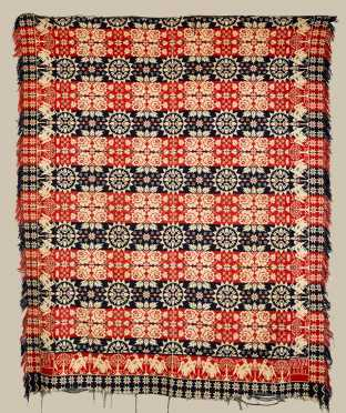 Isaac Brubaker 1836 Eagle Decorated Jacquard Coverlet