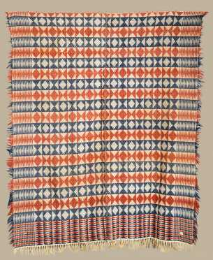 Red White and Blue Homespun Coverlet